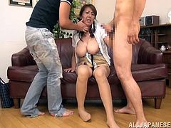 Two studs are fucking a horny Japanese milf