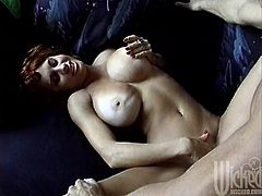 Take a look at this hardcore scene where the bust redhead Bunny Bleu ends up with a very messy facial after being fucked by this guy.