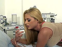 Beautiful and naughty blonde named Cathy Heaven masturbates with a big dildo