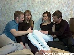 Slutty and sexy girls takes their clothes off at the party. Everybody know what they want. They suck the tool and get fucked hard on the bed. Have a look at this orgy in Young Sex Parties sex video.