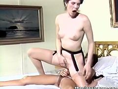Check out these horny sluts having fun together in this retro porn movie. They are using a huge strapon to penetrate their hairy pussies for some deep orgasms.