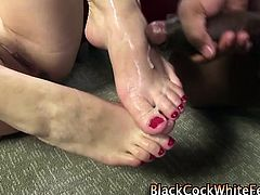 Cumshot on white feet