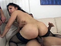 Voracious brunette MILF with tiny titties and big button lied on sofa in mish position. She got her tacky pussy pounded right away and her wet mouth got invaded deep throat. Look at this hot 3 some in Fame Digital porn video!