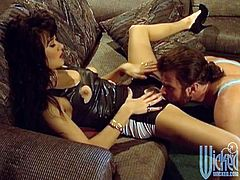 Rough sex wit the horny brunette Asia Carrera in vintage clip