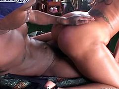 Big assed torrid MILF with fake boobs got her fat pussy eaten in flying position by that hungry African freak. Look at this hot interracial fuck in Fame Digital porn video!