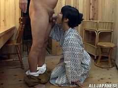 This horny and filthy Japanese siren is going to please this old man in the sauna. Then he licks her pussy and sticks his dick in there.