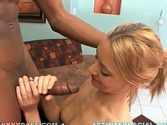 If you want mind-blowing interracial sex, you can count on Samantha Marie. This cock crazed chick needs a huge black cock to satisfy her hunger for sex. She sucks her lover's BBC like crazy. Then she rides his swollen dick in cowgirl position making her fine booyty bounce up and down.