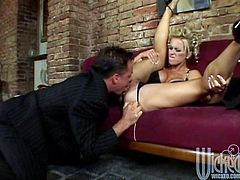 Take a look at this hardcore scene where this busty blonde's fucked silly by this guy after sucking on his hard cock while you take a look at her sexy body.