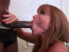 Seductive cougar Darla Crane knows how to suck big cocks