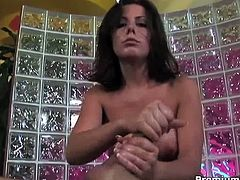 Brunette milf Penny gives great handjob lesson and gets facialized on her sweet face! Watch her jerking off this big cock like a pro!