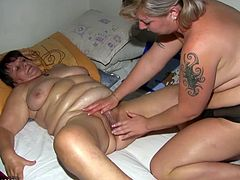 Horny BBW grannies are finally ready for their first time on camera. One lays on her back and got her old twat stretched by the fingers of her best granny friend.