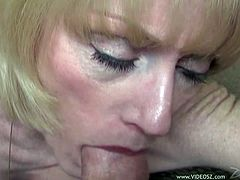 A fuckin' slutty bitch sucks on a hard cock until the dude cums and shoots the jizz in her fuckin' mouth. Hit play and check it out!