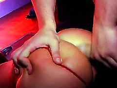 Hot and flexible Nataly Gold is doing a nice striptease in the club when she starts to feel horny a begin to fuck with her handsome partner Timo Hardy right on the stage floor