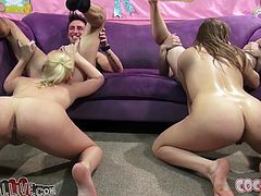 Two fair haired busty sluts got drunk a bit. Their horny fellows couldn't miss such a chance and greedily invaded their wet mouths deep throat. Look at this dirty 4 some in My XXX Pass porn video!