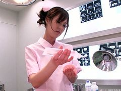 Well-endowed Japanese nurse Sayuki Kanno is playing dirty games with some man in a hospital. She favours the man guy with a terrifit titjob and then fucks him in cowgirl position.