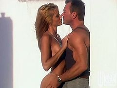 Get a load of this hardcore scene where the slutty blonde Jessica Drake ends up with a mouthful of semen after being by the pool.