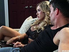 Miss Capri watches a movie with her man. They are both bored, he wants a head from her and she is displeased with the fact, he's not giving her some attention. Well, things are about to change, as her man propose her something to spice up their marriage, a threesome! A guy steps, rips her clothes and they both fuck her