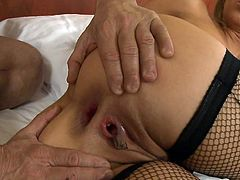 Superb Aleksa Diamond receives a strong cock to devour her shaved ass hole