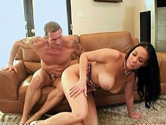 Long and raven haired babe with gorgeous boobies and sexy booty lied on sofa in sideways pose. Her brutal horny man set to invade her pussy right away. Have a look at this hot babe in My XXX Pass porn video!