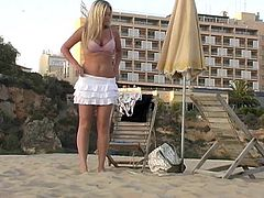 Evening on the beach with a delicious blond bunny Alison Angel! She is getting naked and showing her treasures for us.