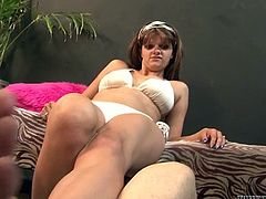 Fair haired whorish woman in white bikini is gonna give that feverish freak good feet fuck. That guy behaves awkward and doesn't know what kind of fuck he wants to get. Look at this funny copulation in Fame Digital porn video!