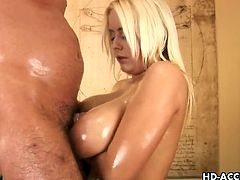 Pamela gives nasty tit job on camera. She is so lusty that she just cannot keep her hands off of that giant cock, sucking it dry, working it with her ample knockers and getting plowed good.