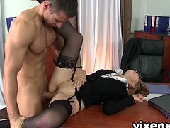 Kandall has been a bad secretary so her boss decided to spank her perfect ass on the desk. Later she gave him a blowjob and fucked her tight asshole like a champ.