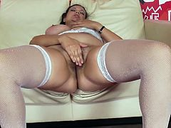 Mom in white lingerie plays wild along her slutty daughter which loves fisting her vag