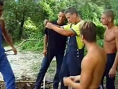 Two pretty queers are getting naughty outdoors. They suck each other's dicks and fuck doggy style near a lake and seem to be unable to stop.