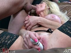 Lusty light haired sex pot with massive fake boobs kneeled down to suck big staff cock of her fuck dying freak. Meanwhile she rubbed her throbbing clit with huge sex toy. Watch this dirty bitch in My XXX Pass porn video!