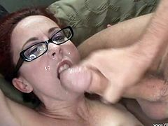 Brunette cutie Trinity Post wearing glasses licks some dude's wang. Then they bang in cowgirl position and the dude fucks Trinity's asshole from behind.