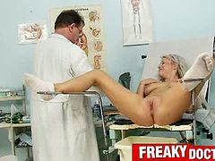 Checkout this sexy busty blonde babe with lovely body and sweet shaved cunt.See how this lucky doctor plays with her body and examine her cunt in his own weird ways.