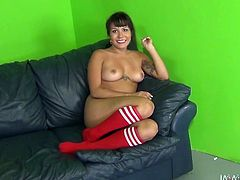 This chick can't get enough of her lover's huge black cock. She rides her lover's massive pecker passionately like a cowgirl on a bucking bronco. She feels he's about to cum and gives him a nice blowjob.
