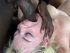 That dumpy light haired chick couldn't even open her eyes. She was pissy drunk. Those freaks banged her asshole and mouth simultaneously from both sides. Look at this dirty gangbang fuck in Fame Digital porn clip!