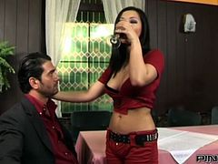 Torrid Asian whore with attractive body shapes drank a bit and was ready for hard fuck. Her white stud started from classic mish position fuck. Look at this sweet Asian pussy in Pinko HD sex video!