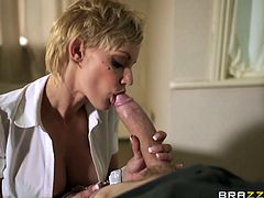If you adore girls wearing uniforms, then you definitely need to watch this video! A big breasted blonde babe can't get away unremarked so easily. See this hot whore taking a big cock in her pretty mouth and rubbing it on her tits. Click and enjoy the show.