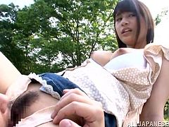 Get wild watching this a long haired babe, with big tits wearing a miniskirt, while she gets pounded hard in the middle of a Japanese forest.