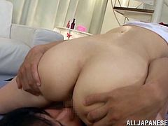A pleasurable Japanese girl in a uniform gets her juicy boobs massaged. Shiori gives a nice blowjob and gets her delicious pussy licked. Then this cute Asian babe gets fucked on a floor.