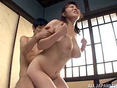 A beautiful Japanese babe sucks on a hard dick and then takes it balls deep into her amazing dripping wet gash, check it out right here!