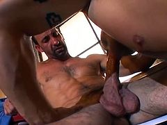 Body building stud gives hot blow to friends extra long thick dick before he sits on him allowing to come!