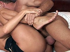 Milf with superb forms is about to crack her tight fanny by fucking in a wild hardcore scene
