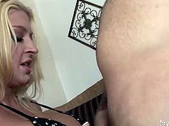 Naughty and kinky blond head in sexy black lingerie rides her friend's cock on top in reverse cowgirl positiom. Then he drills her from behind.