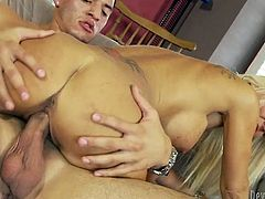 That handsome brutal freak adores to fuck with horny MILFs. Now that filthy lusty bitch with saggy tits rides his hard cock in reverse cowgirl pose ardently. Just watch that steamy fuck in Fame Digital porn clip!