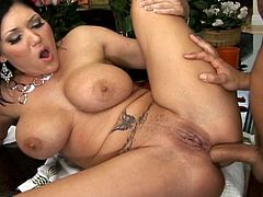 Her big tits are shaking like wild as nasty chick lets a huge dong to devour her shaved ass in hardcore