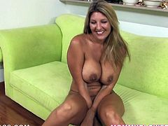 Jezebel Jones is absolutely one of a kind! She has a nice pair of big round boobs and a nicely shaped ass. Shapely hottie masturbates in front of her lover because she knows that kind of thing turns him on. Then she goes straight for his throbbing dick.
