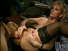 Missy is a busty blonde milf with big round tits and the most amazing ass. Watch this mommy being fucked silly by a guy as she wears stockings.