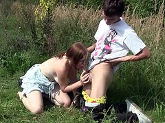 Take a look at this hardcore scene where a sexy redhead teen is fucked by her lover outdoors after he fingers her tight pink pussy.