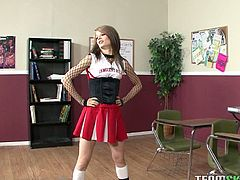 Sensi Pearl has an unusual audition for the cheer-leading team. A hot young coach bangs her rough in the classroom to make sure that she qualifies to his standards.