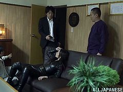 Ryu is a beautiful Asian girl in a leather outfit. This girl gets captured by yakuza guys. This girl gets fucked in her mouth and tight pussy.