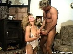 Have a blast watching this wife, with a nice ass wearing white stockings, while she goes hardcore with a steamy dude in a retro video.